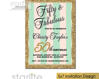 Fifty and Fabulous Invitation, 50 and Fabulous Birthday Invitation, 50 and Fabulous Invitations, Pink Mint Gold Glitter, Printable, Printed