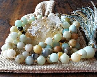 Green Mala Gift, Amazonite 108 Mala Beads, Amazonite Mala Necklace, Amazonite Tassel Necklace, Amazonite Mala Gift, Green Yoga Gift, Malas