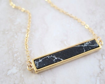 Black Marble Gold Bar Chain Necklace - Geometric Pendant