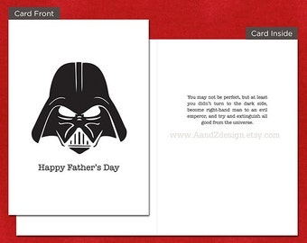 Darth Vader Father's Day Card, Handmade Greeting Card, 5x7 inch
