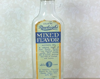 RAWLEIGH'S EXTRACT BOTTLE, 1930's, Mixed Flavor, Vintage Kitchen Glass, Decor