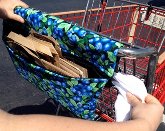 Grocery Bag Holder,  shopping cart cover, reusable bag tote, SackPack