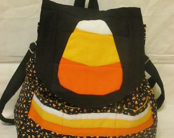 Quilted Candy Corn Backpack Purse