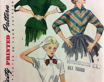 Early 1950s dolman sleeve blouse & overblouse Simplicity 4010 vintage sewing pattern Petite Bust 32 Waist 26.5 Hip 35 Mid Century Retro 50s