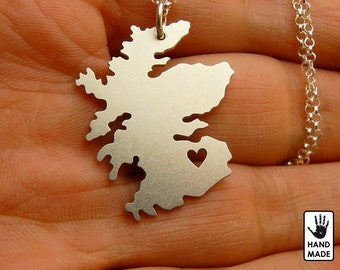 BIG SCOTLAND Map Handmade Sterling Silver .925 Necklace in a gift box