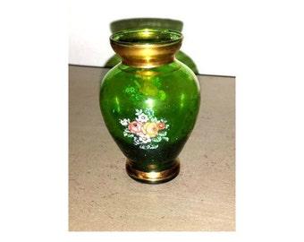 Vintage Mini Venetian Glass Vase,Gold Gilt Glass Vase,Minature Vase,Floral Vase, Green Vase, Bohemian Glass Vase, Ventian Vase, Green Glass