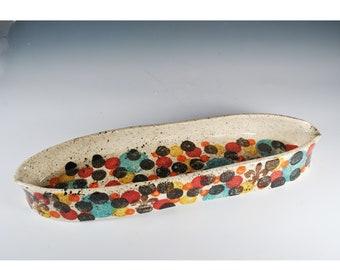 Large Oval Serving Dish, Handmade Ceramic Serving Platter,  Fish Tray