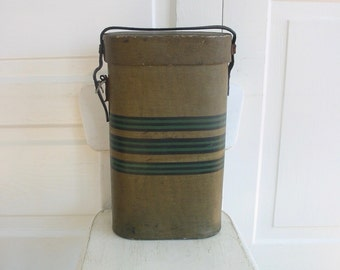 Vintage Wine Carrier, Vintage Tote, Striped Case, Brown Case, Vintage Barware, Striped Wine Carrier, Picnic Carrier