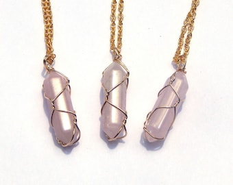 Rose Quartz Necklace, Rose Quartz Crystal Necklace, Wire Wrap Rose Quartz, Crystal Necklace, Rose Quartz Pendant, Quartz Necklace, Quartz