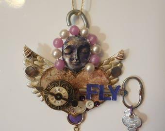 OOAK, Time Flies, Altered Art Artdoll, Art Doll, Metal Sculpture Wall Art, TIME FLYS, Time Flies, Guardian Angel Gift, Art