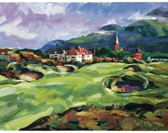 "Merry Christmas Golf Gift. Royal County Down Golf Club, Ireland - ""Homeward Bound"". Print of original watercolor painting."