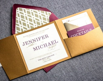 "Purple and Gold Invitations, Burgundy Wedding Invitation, Vineyard Wedding, Elegance Burgundy Suite - ""Classic Elegance"" - PF-NL-v2 SAMPLE"