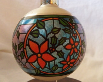 """Vintage 1982 Hallmark QX2283 """"Stained Glass"""" Ornament"""