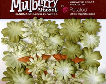 12 blossoms PETALOO STREET green MULBERRY paper flowers