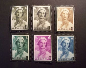 Belgium Postage Stamp Set 1935 Vintage*Queen Astrid, Memorial Issue**Partial Set,Unused Hinged*