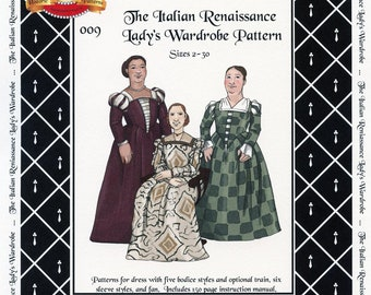Italian Renaissance Lady's Wardrobe sizes 2-30 Margo Anderson Sewing Pattern # 009