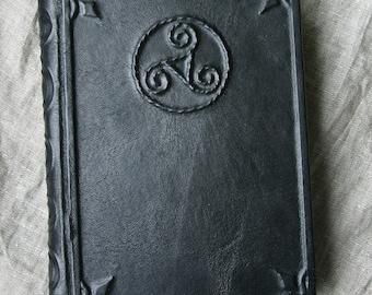 Large leather-bound journal Triskele