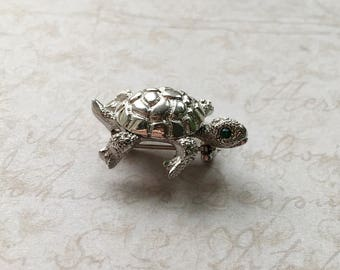 Silver Monet Turtle Brooch with Moving Head,Silver Turtle Pin with Green Eyes,Miniature Turtle Brooch