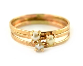 Delicate Pearl Ring, Gold Gemstone Ring, June Birthstone Ring