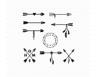 Arrow SVG bundle circle arrow frame arrow silhouette cut files arrowheads tribal arrows clipart
