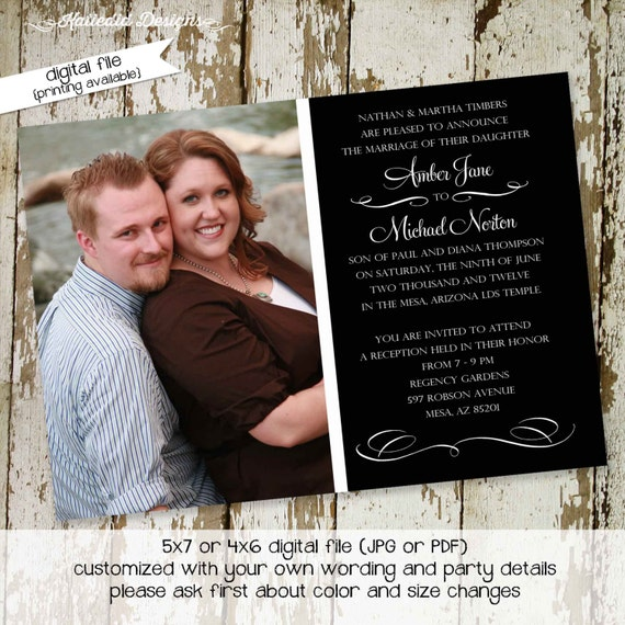 wedding luncheon invitation | photo announcement | Couples Bridal Invitation | Rehearsal Dinner | stock the bar | coed | 362 Katiedid Design