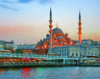 Istanbul, New Mosque, Waterfront, Galata Bridge, Sunset, Turkish Mosque, Constantinople, Istanbul Painting, Available on Canvas