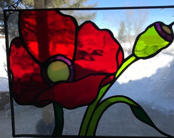 Stained Glass Panels For Sale - Red Poppies - Remembrance