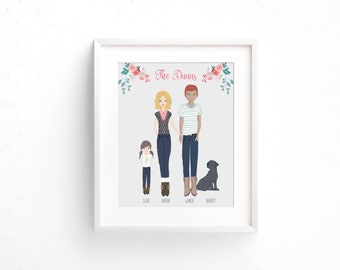 Custom Family Portrait, Family Portrait Illustration, Family Name Decor, Personalized Family Portrait, Custom Family Drawing, Family Sign