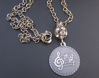 Music Pendant, Music Jewelry Women, Silver Treble Clef Pendant, Musical Note Necklace, Musician Gift, Rhinestone Silver necklace
