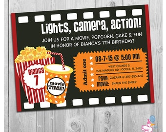 Movie Party Invitation | Printable Boys or Girls Movie Invite | Personalized Movie Theater Ticket Birthday Invitations | Black Red Yellow