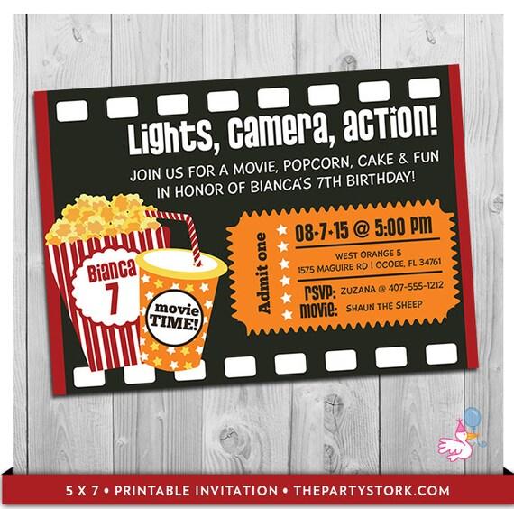 Movie party invitation printable boys or girls movie invite like this item stopboris Image collections