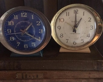 Pair of Vintage Westclox Baby Ben Alarm Clocks