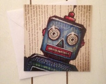 Robot Square Greeting Card - Blank