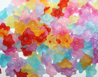 Flower Lucite Flower Bead Caps Acrylic Beads Mix Colors - 10mm - 100ct - #182
