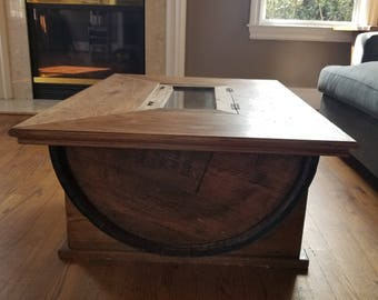 Concealment Barrel Table With Hidden Storage