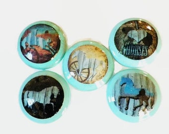 I LOVE HORSES Dresser Drawer Knob, Girls' Bedroom Equestion Decor, Choose Your Favorite Images, Make Your Own Jewelry Board