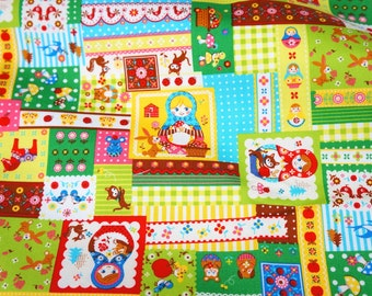 Matryoshka Russian dolls fabric half meter 19.6 by 42 inches  nc51