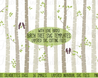 Birch Tree Silhouette SVGs, Aspen Tree SVG Cutting Templates - Commercial and Personal Use