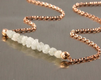 14K Rose Gold Filled Necklace with White Diamonds - Natural Raw Rough Diamonds - Uncut and Conflict Free White Diamonds - April Birthstone