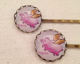 Pair, 2x, Flying pig hair grips, Flying pig jewellery, flying pig gift, flying pig hair slides,hair accessories, hair slides, girls slides