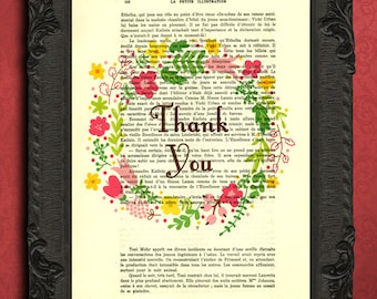 Thank you print thank you words art thank you gift typography print summer flowers wreath illustration