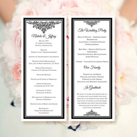 wedding program template black make