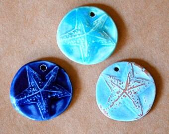 3 Handmade Ceramic Beads - Starfish - Ocean blue and aqua starfish pendant beads