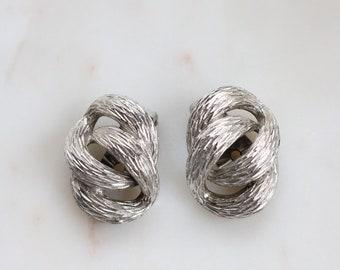 Vintage Napier Pat.Pend knot Clip On Earrings - Interlocking Oval Clip Earrings