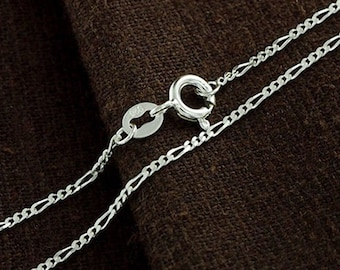 16 inches of 925 Sterling Silver Figaro Chain Necklace 1.3 mm. Delicate Chain  :th2353-16