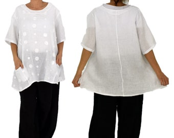 LA800W women's tunic blouse linen vintage embroidery gr. 46 48 50 Portable White