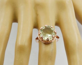 cunning Rose Gold Green Amethyst Gems 925 Sterling Silver Ring jewellery gift