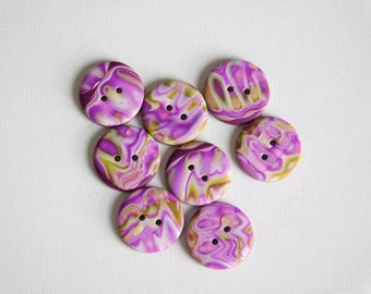 """5/8"""" polymer clay buttons, 16 mm handmade sewing buttons, set of 8"""