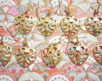 6 Prs. Goldplated Heart Earrings