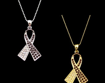 Crystal Burgundy Red Clear Ab White Ribbon Bow Head And Neck Cancer Awareness Pendant Charm Necklace Silver Tone Gold Tone